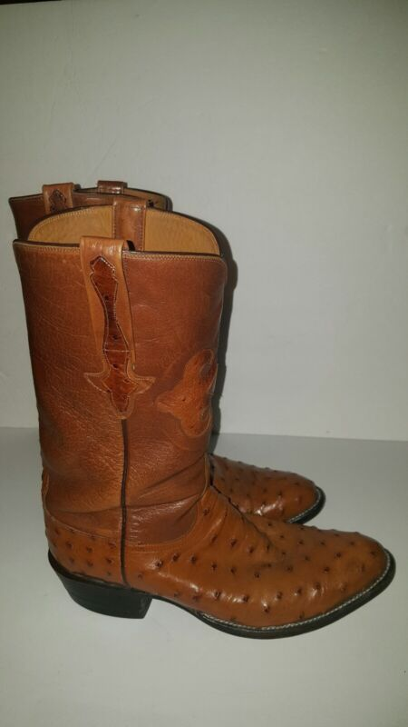Lucchese, Full, Quill, Pin, Ostrich, Size, 8, 1/2D, Mens, Leather, Cowboy, Boots,