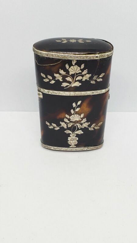 Antique 18 Century Georgian Faux Tortoiseshell Scent Bottle Etui, Silver Inlaid