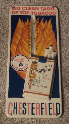 Vintage Chesterfield Cigarettes Tobacco Advertising Embossed Metal Thermometer
