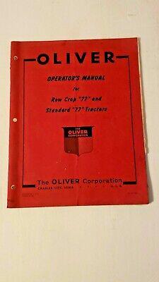 Original Oliver Row Cropstandard77 Tractors Operators Manual