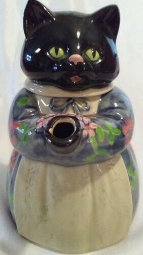 Vintage The Edith Collection Black Cat Teapot - Hand Painted Otagiri Japan-Rare