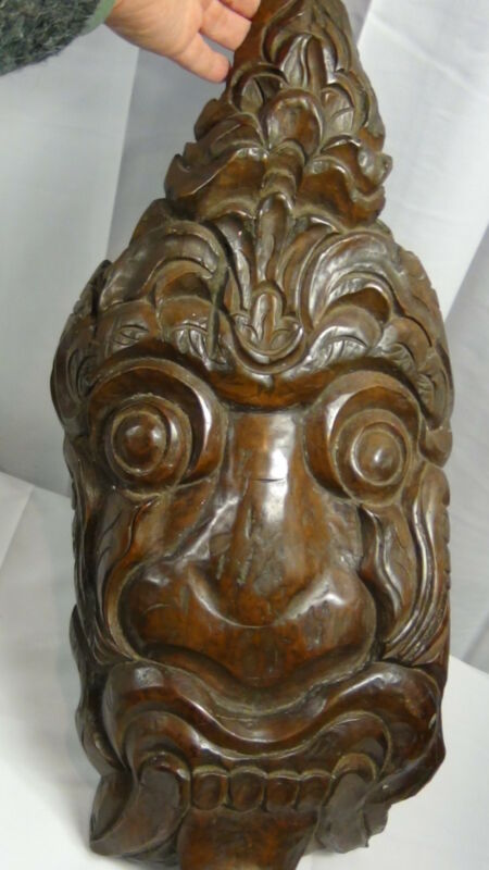 ANTIQUE ASIAN ,CHINESE TEAK WOOD CARVED MONSTER,DRAGON WALL PLAQUE ,RITUAL MASK