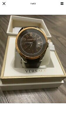 Versace P7Q Rose Gold Silicone Band Men's Watch NEW IN ORIGINAL BOX WITH TAGS