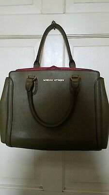 AUTHENTIC ADRIENNE VITTADINI OLIVE GREEN LEATHER WITH DEEP RED LINING ~ PURSE Deep Red Leather Handbag