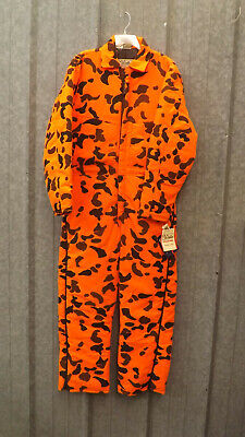 bb12df828afbb Vtg NEW Walls Blizzard-Pruf Orange Camo Insulated Coveralls USA made sz  Large