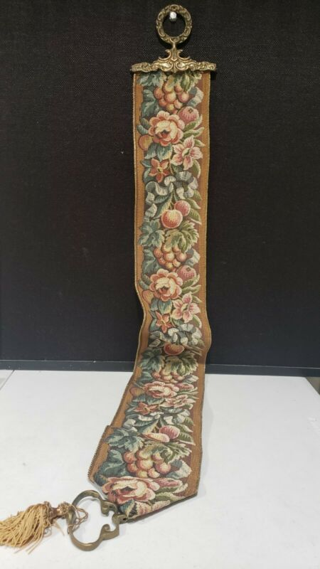 "Corona Decor Co Vintage FRUIT ROSES 48"" Tapestry Wall Hanging Art Brass Hardware"