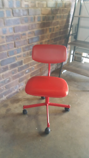 MOVING SALE! Red Adjustable Height Swivel Chair on Wheels
