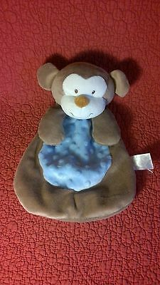 "11"" Baby Gear MONKEY SECURITY BLANKET blue brown plush stuffed baby toy"