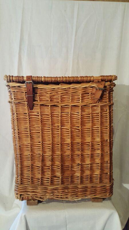Antique European French Wicker Tall Laundry/Fruit Bin/Travel Basket