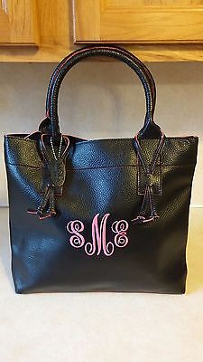 MSC MAINSTREET COLLECTION BLACK PINK MONOGRAM TOTE SHOPPING - Main Street Collection Monogram
