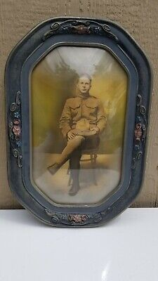 WWI Era Military Soldier Photo in Bubble Glass & Wood Frame Army 22