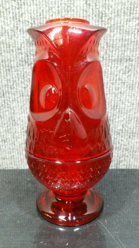 Vintage Viking Art Glass Ruby Red Owl Glimmer Fairy Tea Candle Lamp Retro MCM