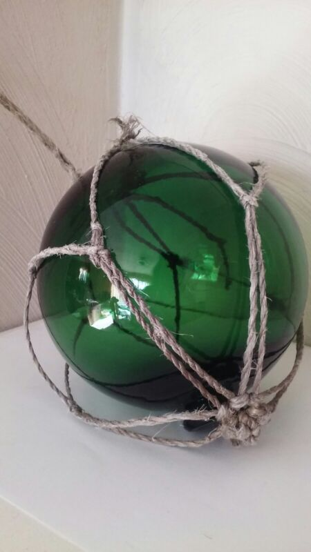 Vintage Fishing Float Green Glass In Damaged Netting ~ Japan?
