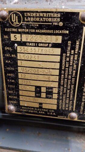 Underwriters 1 HP Explosion Proof Motor 1725 RPM