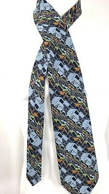 1940s Mens Ties | Wide Ties & Painted Ties 1940s Style Delivery Truck Blue Necktie Tie Vintage 1970s 70s Polyester Wide $12.50 AT vintagedancer.com