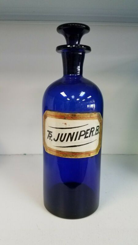 Cobalt Blue label Under glass Apothecary bottle   Mint.   Free shipping