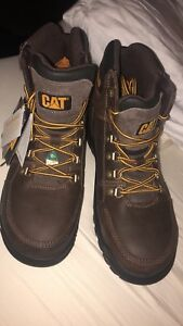 CAT Men's Outline Steel Toe Steel Plate Leather Work Boots