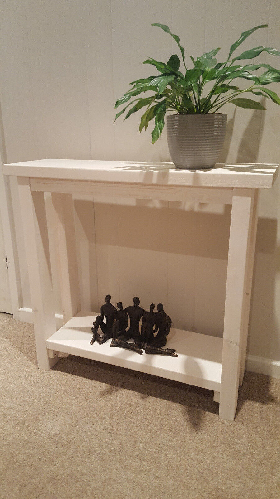 White Wash Chunky Solid Wood Console Hall Table