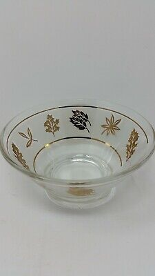 Libbey Glass STARLYTE BOWL DISH Frosted GOLDEN LEAF GOLD LEAVES 1950'S  -