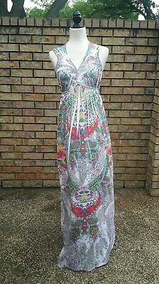 Cato Maxi Dress Size Small Womens Sleeveless Lace back  Neck Boho Sublimation  Sublimation Maxi Dress