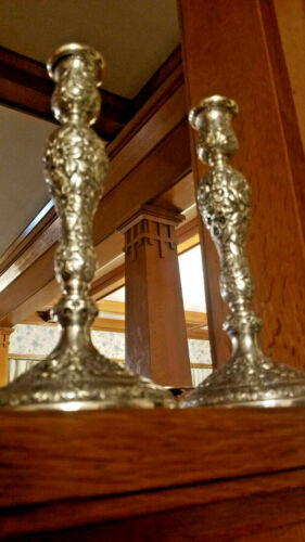 Schofield BALTIMORE ROSE CANDLESTICK HOLDERS - Sterling Silver - Ornate - Rare