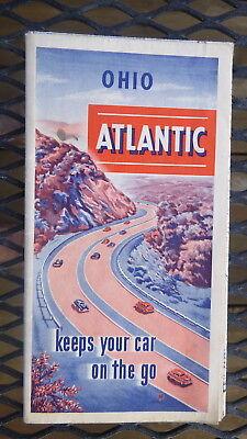 1951 Ohio road map  Atlantic  oil  gas  road maps