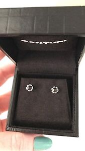 Canturi Regina 18kt white gold and black sapphire studs Clontarf Redcliffe Area Preview