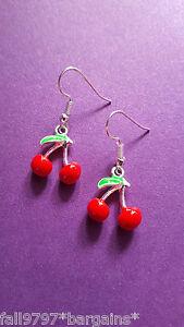 Cherry Red Enamel Earrings Rockabilly Fun Cute Kitsch 50s - Sealed FREE DELIVERY