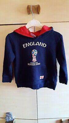 ENGLAND FIFA Russia WC 2018 Child's 3-4 yrs Navy Blue Hooded Cotton Fleece Top  comprar usado  Enviando para Brazil