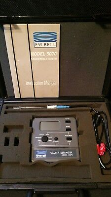 F.w. Bell 5070 Gaussmeter With Probe And Case Tesla Meter Magnetometer