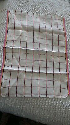 Vintage Linen Kitchen Towel WINDOWPANE CHECK Black,Pink,Yellow Borders