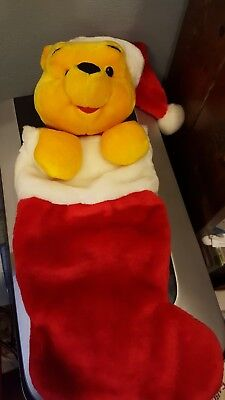 "Authentic Disney's 18"" Winnie The Pooh Plush Christmas Stocking Very Clean."