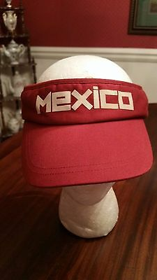 Mexico Sun Visor in Bright Red Old Navy One Size 100% Cotton Gently Worn Cotton Worn In Hat