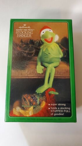Vintage 1980 Hallmark Kermit The Frog Stocking Hanger with Box - Nice!