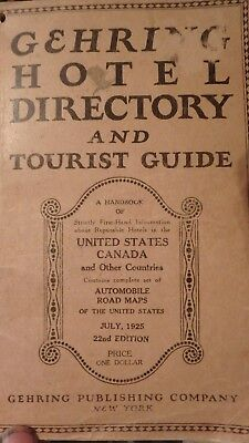 1925 edition GEHRING hotel directory & tourist guide- 286 pages