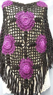 Handmade Batwing  Crochet Poncho Black & Purple Circle Floral Knitting Outwear (Purple Poncho)