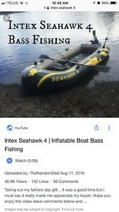 Inflatable boat w/ electric motor, anchor