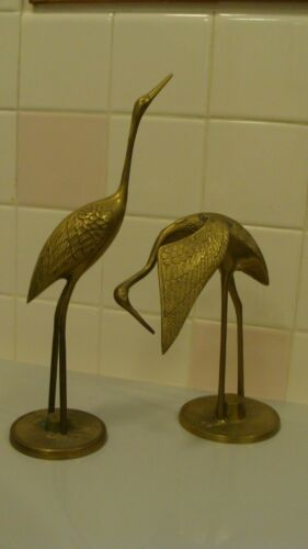 "Vintage Brass Pair of Flamingo Birds 11.5"" tall & 7.2"" tall"