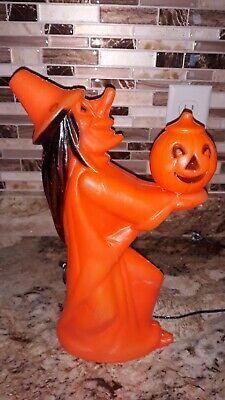 "Vintage Orange Plastic Witch Holding Pumpkin 13"" Halloween Blow Mold"