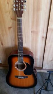 Acoustic guitar- legacy- with carrycase, stand, tuner