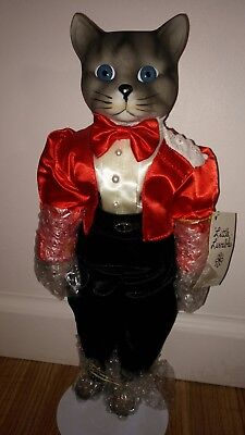 "Boy Cat Doll Porcelain, Rare! Little Luvables Collector Edition 1987 14"" w/stand"