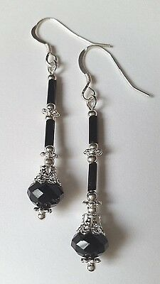Black Crystal Art Deco Style Earrings ~ 925 Sterling Silver Ear Hooks ~ Vintage