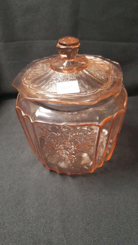 Vintage Anchor Hocking Mayfair Open Rose Pink Depression Glass Lidded Cookie Jar