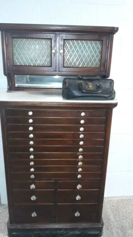 Antique Wooden Medical Cabinet w Frosted Glass Doors & Marble Base