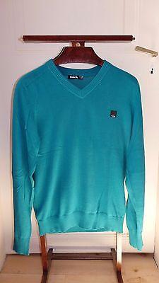 Magnifique pull bleu vert bench col v, taille m ! 100% coton !