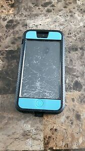 Blue Iphone 5c Virgin Mobile w/ Cracked Screen