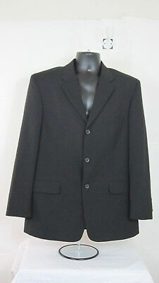 J Ferrar 42R Sport Coat Blazer Suit Jacket Black 100% Wool for sale  Inkster
