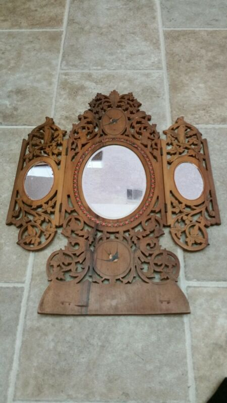 Victorian Hand Carved And Inlaid Table/ Vanity Mirror.