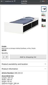 Bed frame w storage+slatted bed base,white,single Strathfield South Strathfield Area Preview