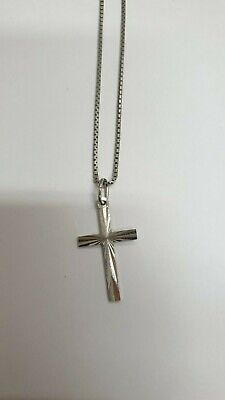 Necklace Religious Chaîne Venetian And cross Pendant Solid Silver - REF47215